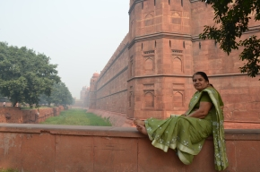 After a few hand signals and smiles, this woman agreed to pose outside the walls of the Red Fort.