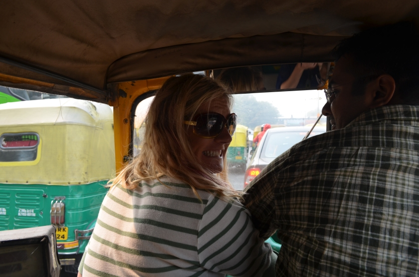 Caution to all Indian motorists–Jess is driving an auto-rickshaw!