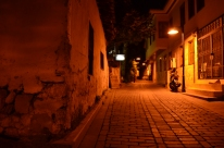 The quiet cobblestone streets of Antalya, located in southern Turkey along the Mediterranean.