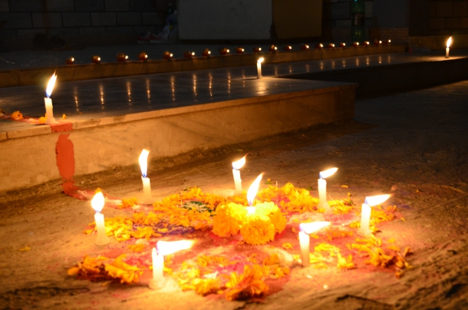 A candlelit decoration made by children in Pokhara, Nepal, for Diwali