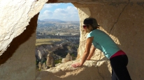 Peering out onto the Goreme valley.