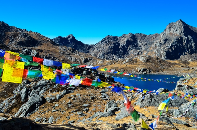 Just when you thought you couldn't trek any further, an encouraging display of Tibetan prayer flags greets your weary eyes.