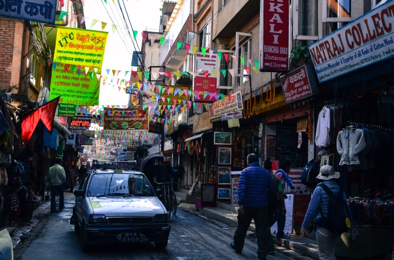 Navigating the pulsating streets of Thamel.