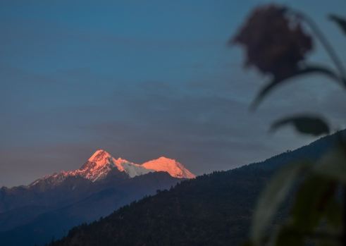 Langtang Liring (23,711 feet) illuminated at sunset.
