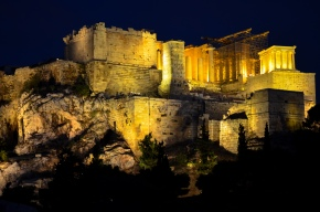 A not-too-shabby view of Athens most stunning sight: the Acropolis at night.
