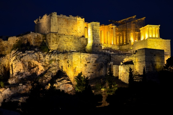 A not-too-shabby view of the glowing Acropolis at night.