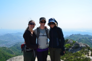 We summited a peak! From left to right, Jenelle, Katie and me.